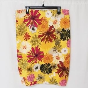 New York & Company Yellow Floral Skirt